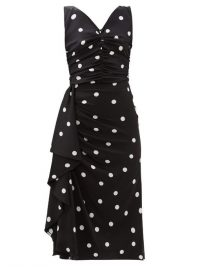 DOLCE & GABBANA Black and white polka-dot ruched silk-blend midi dress ~ Italian lbd