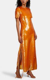 PRABAL GURUNG Orange Sequin-Embellished Column Gown ~ event glamour