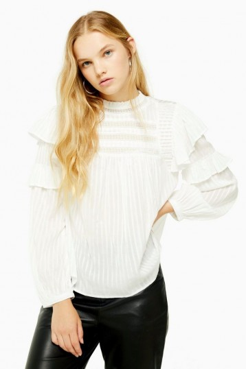 Topshop Prairie High Neck Top in Cream