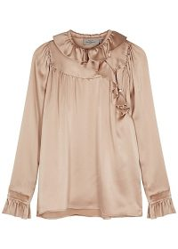 PREEN BY THORNTON BREGAZZI Champagne ruffle-trimmed silk-satin blouse | feminine and lady-like fashion
