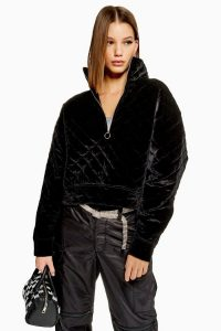 Topshop Quilted Velour Zip Through Sweat in Black