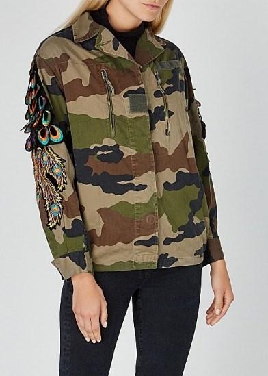 RAGYARD Camouflage feather-appliquéd cotton jacket - flipped
