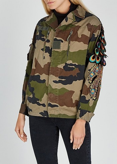 RAGYARD Camouflage feather-appliquéd cotton jacket