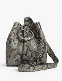 REBECCA MINKOFF Mini Kate bucket bag in Thyme / snake print accessories