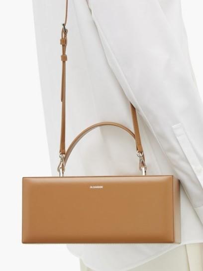 JIL SANDER Rectangular Case tan-leather handbag | luxe light-brown handbag