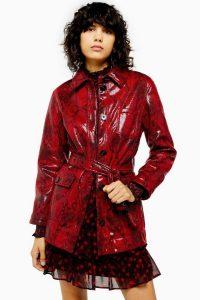 TOPSHOP Red Snake Print Belted Vinyl Coat / high-shine coats