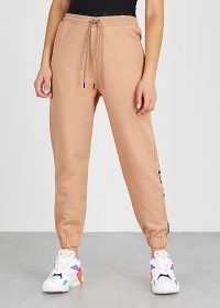 REEBOK X VICTORIA BECKHAM Almond logo-embroidered cotton sweatpants ~ casual cuffed pants