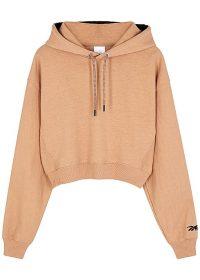 REEBOK X VICTORIA BECKHAM Almond logo-embroidered cotton sweatshirt ~ designer hooded sweat tops