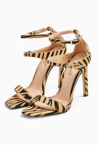 TOPSHOP RELISH Double Strap Heels / tiger print sandals