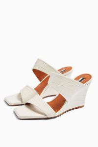 Topshop RELLIK Wedge Mules Off White | square toe wedges