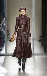 Zimmermann Resistance Pleated Leather Dress in Burgundy ~ luxury fit and flare