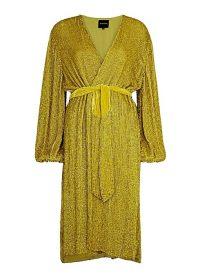 RETROFÊTE Audrey gold sequin wrap dress / glamorous evening fashion