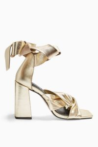 Topshop REVOLVE Leather Gold High Sandals | strappy metallic block heels