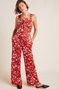 Adelyn Rae Romy Tie-Front Jumpsuit in Red Motif