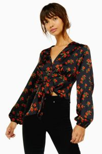 TOPSHOP Rose Floral Print Tie Front Blouse in Black