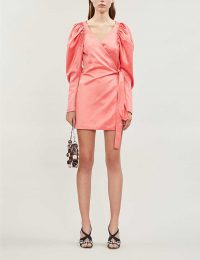 ROTATE BIRGER CHRISTENSEN Leg-of-mutton-sleeve satin mini wrap dress in shell pink – voluminous sleeves