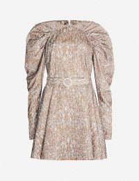 ROTATE BIRGER CHRISTENSEN Snake-print fitted satin mini dress / structured voluminous-sleeved dresses