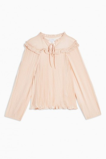 TOPSHOP Ruffle Pleated Smock Top in Pale-Pink