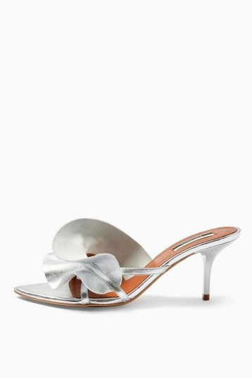 TOPSHOP RUFFLE V Point Mules in Silver - flipped