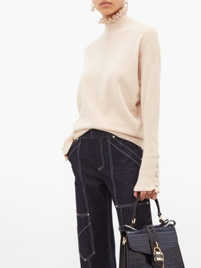 CHLOÉ Ruffle-trimmed cashmere sweater ~ chic knits