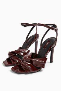 TOPSHOP RUMBA Patent Sandals in Burgundy / glossy heels
