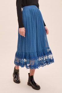 Bl-nk Rumi Mesh-Overlay Maxi Skirt in Blue | floral embroidered hemline