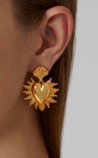 Oscar de la Renta Sacred Heart Gold-Tone Earrings