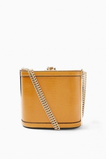 Topshop SADIE Mustard Shoulder Bag ~ small chain strap box bags - flipped
