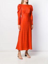 SALONI ruched shoulder midi dress in orange