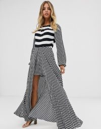 Sass & Bide stripe jumpsuit in black/white / floaty overlay all-in-one