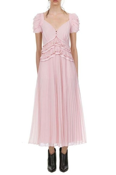 Self Portrait Chiffon Midi Dress Pink