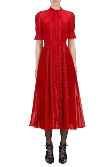Self Portrait Chiffon Twist Neck Midi Dress