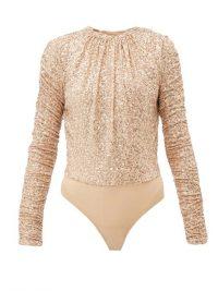 JONATHAN SIMKHAI Sequinned open-back mesh bodysuit in ~ sequin embellished bodysuits