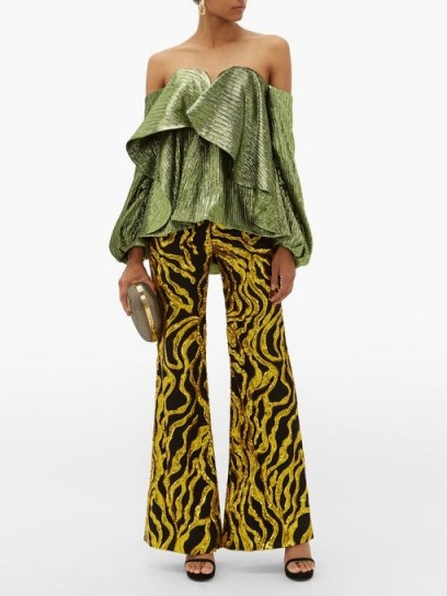 HALPERN Sequinned-vine flared trousers ~ black and gold-sequin flares