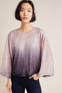 ANTHROPOLOGIE Serena Ombre Top / metallic wide sleeve tops