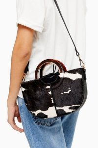 SHELBY Cow Print Grab Bag / monochrome top handle bags