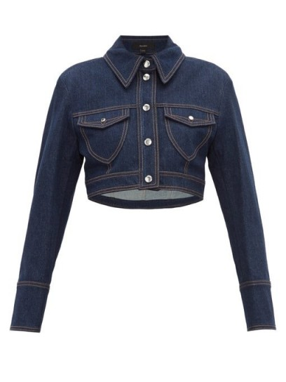 ELLERY Sheval cropped denim jacket in dark-blue