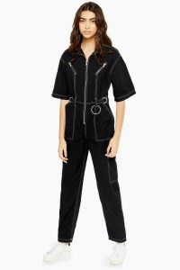 TOPSHOP Short Sleeve Utility Boiler Suit in Black