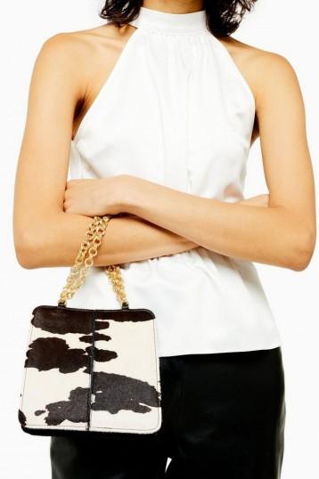 TOPSHOP SIAN Cow Shoulder Bag in Monochrome