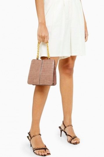 Topshop SIAN Pink Crocodile Shoulder Bag | small gold chain croc bags