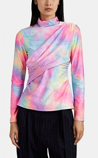 SIES MARJAN Peyton Glittered Tie-Dyed Top ~ multicoloured high neck tops