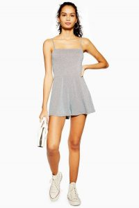 TOPSHOP Silver Glitter Tie Playsuit / cami strap playsuits