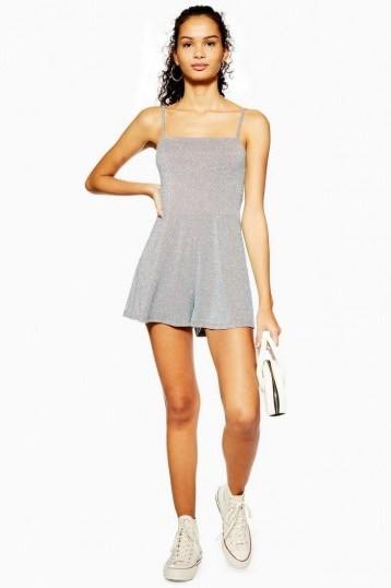 TOPSHOP Silver Glitter Tie Playsuit / cami strap playsuits - flipped
