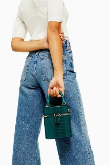 Topshop SIMI Green Crocodile Barrel Bag   small top handle bags