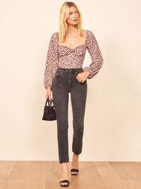 REFORMATION Simi Top in Pink Panther / sweetheart neckline tops
