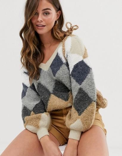Skylar Rose oversized jumper in vintage argyle   pattered V-neck jumpers