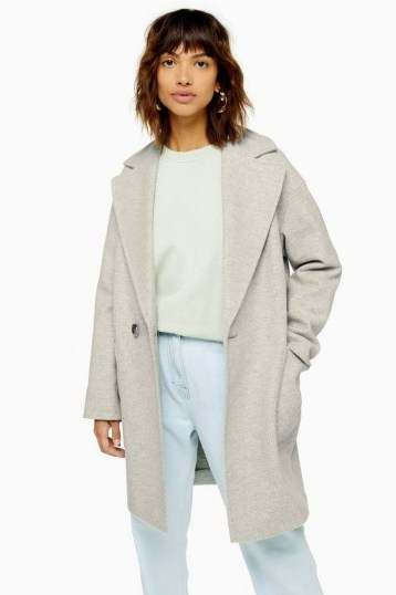 Topshop Slouch Coat Grey Marl   easy to wear coats with effortless style - flipped