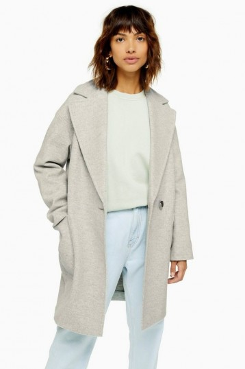 Topshop Slouch Coat Grey Marl   easy to wear coats with effortless style