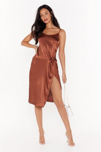 NASTY GAL Smooth Talkin' Satin Midi Dress in Chocolate