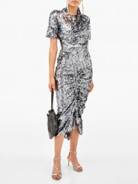 PREEN BY THORNTON BREGAZZI Sophia sequinned ruched-front midi dress in silver | glamorous party dresses